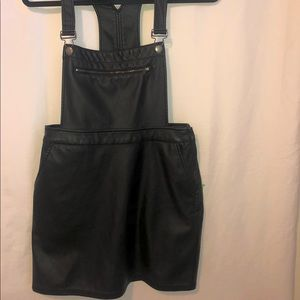 Black Leather Overalls Dress